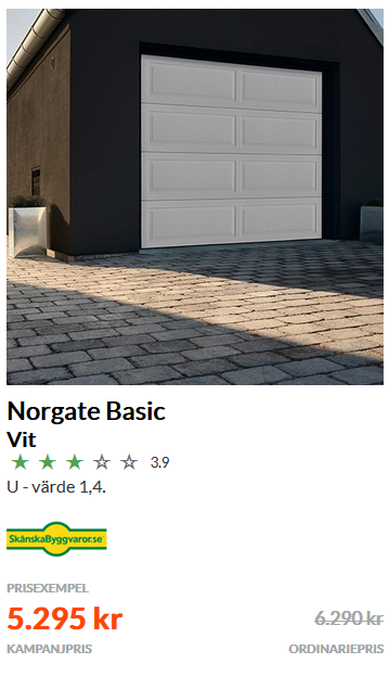 Garageport Billig Basic vit